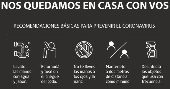 RECOMENDACIONES PARA PREVENIR EL CORONAVIRUS (CUADRO)